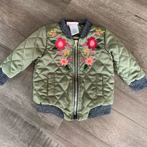 Other - Adorably baby embroidered quilted bomber jacket